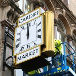 The new clock at Cardiff Central Market