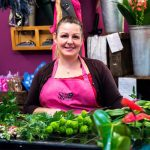 A florist at Cardiff Central Market